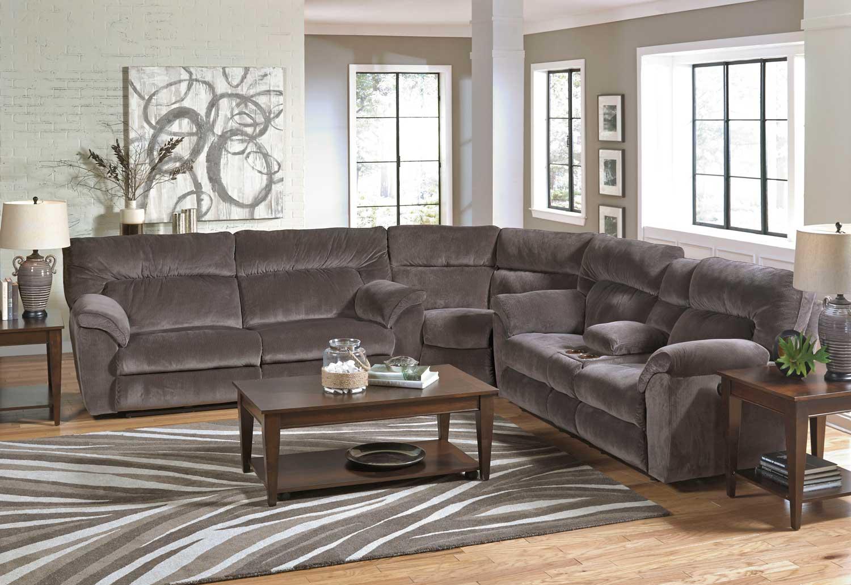 CatNapper Nichols Power Reclining Sectional Sofa Set   Granite