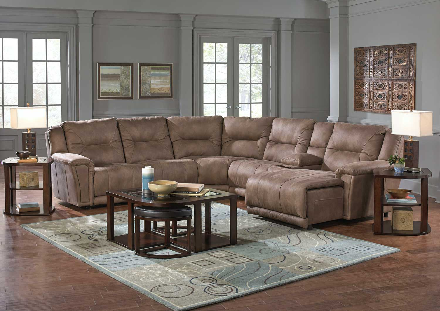 Catnapper Montgomery Sectional Sofa Set 1 Cement Cn 175 Sect Sofa Set 1 Cement At Homelement Com
