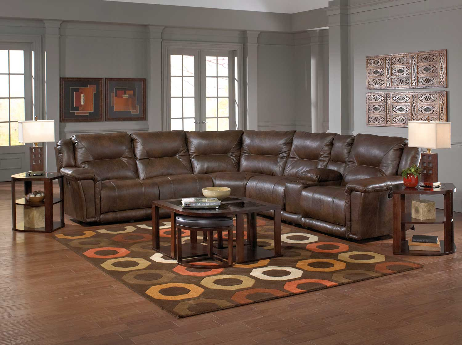CatNapper Montgomery Sectional Sofa Set 2   Timber