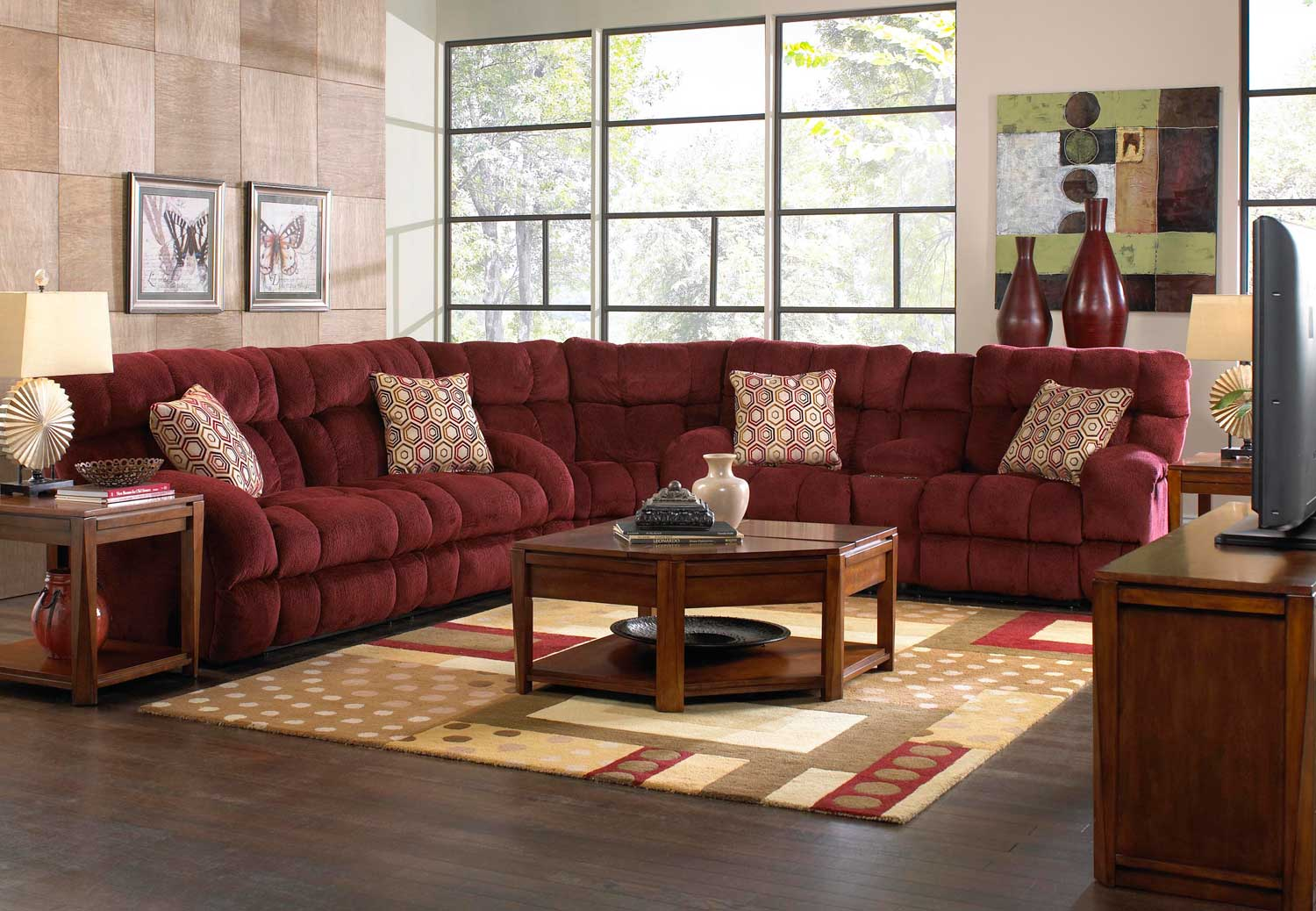 CatNapper Siesta Power Lay Flat Reclining Sectional Sofa Set - Wine
