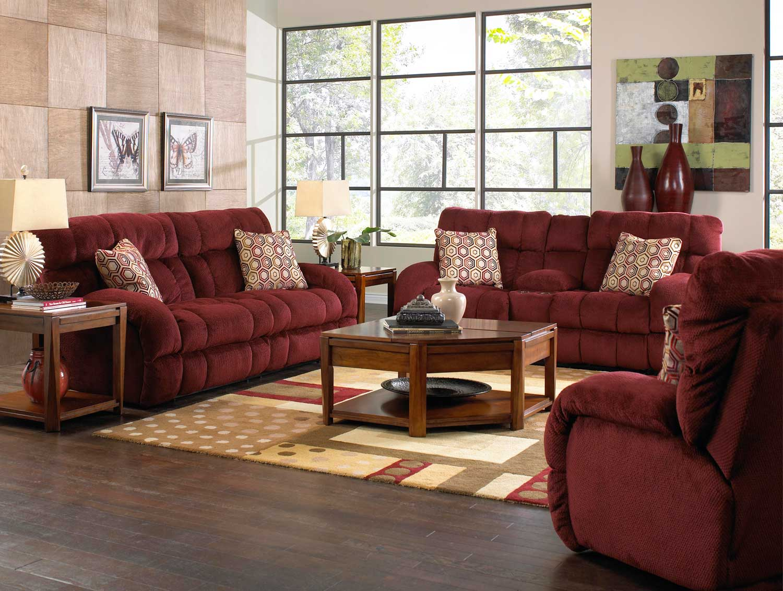 Catnapper Siesta Lay Flat Reclining Sofa Set Wine Cn