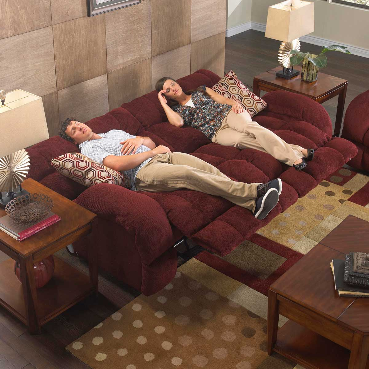 CatNapper Siesta Lay Flat Reclining Sofa Set Wine CN