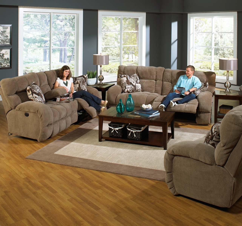 CatNapper Siesta Lay Flat Reclining Sofa Set - Porcini