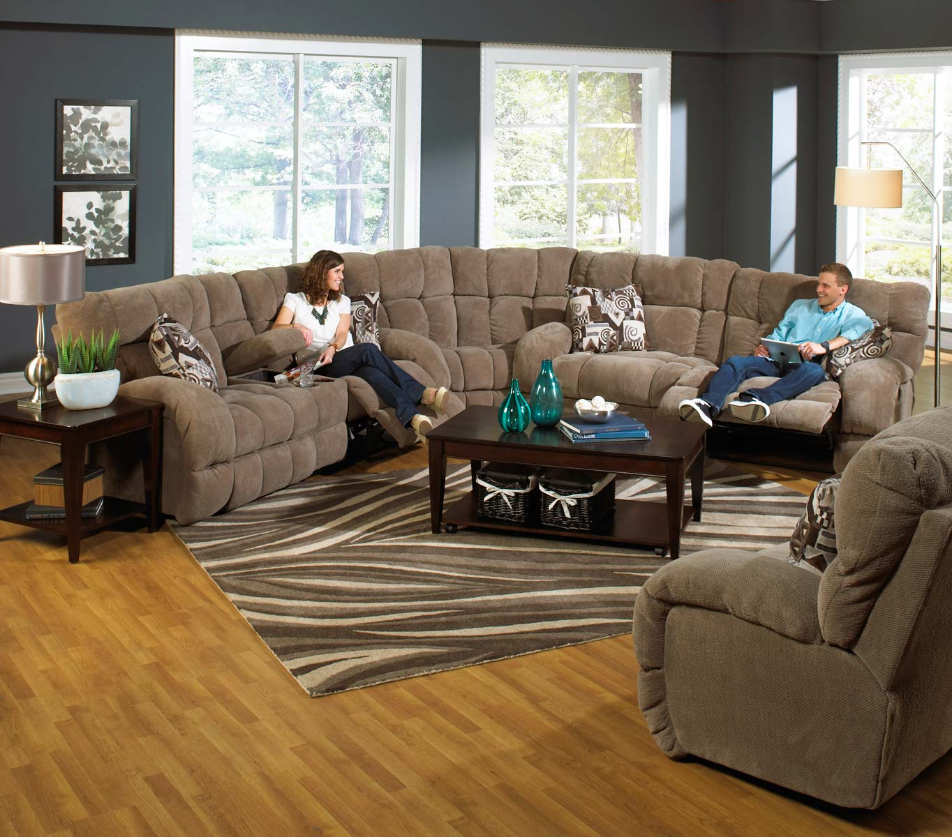 CatNapper Siesta Lay Flat Reclining Sectional Sofa Set A - Porcini