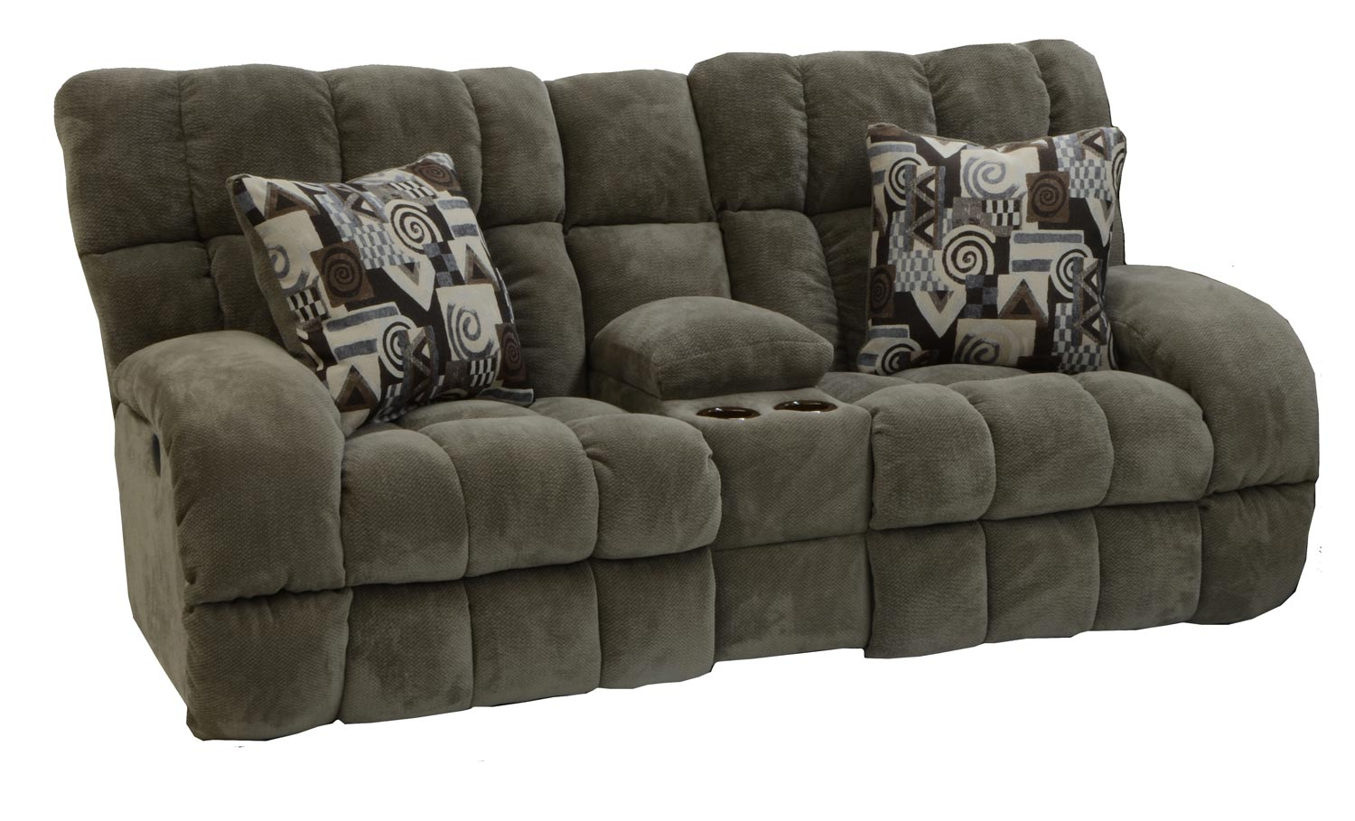 Catnapper Siesta Power Lay Flat Reclining Console Loveseat With Storage And Cupholders Porcini