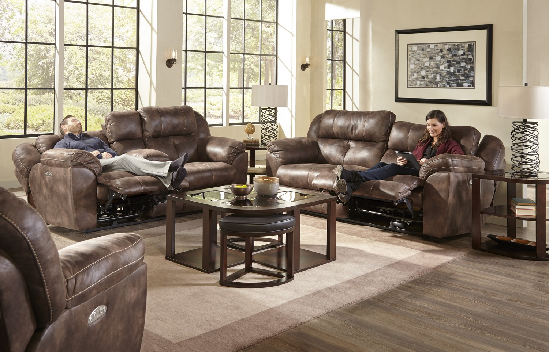 CatNapper Ferrington Power Headrest Power Lay Flat Reclining Sofa Set - Dusk