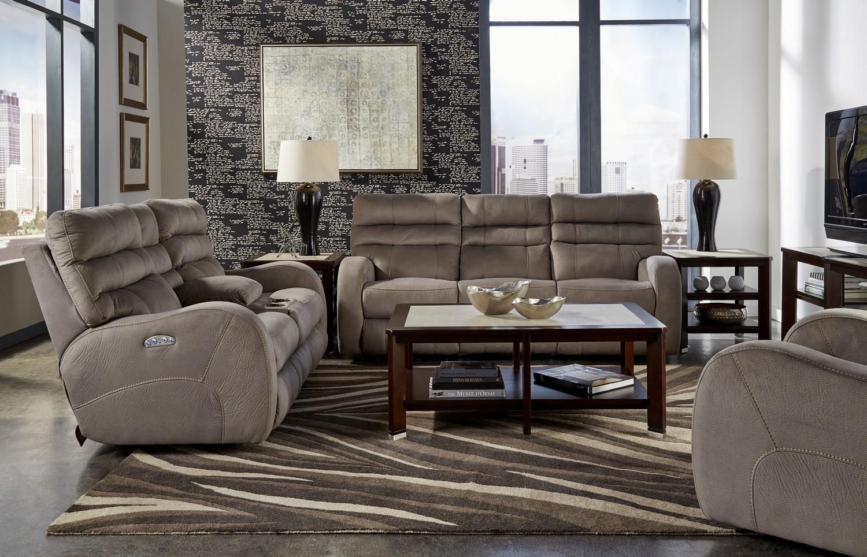CatNapper Kelsey Power Headrest Power Lay Flat Reclining Sofa Set - Aluminum