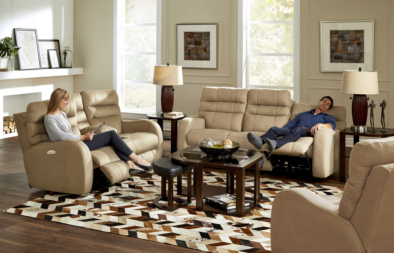 CatNapper Kelsey Power Headrest Power Lay Flat Reclining Sofa Set - Doe