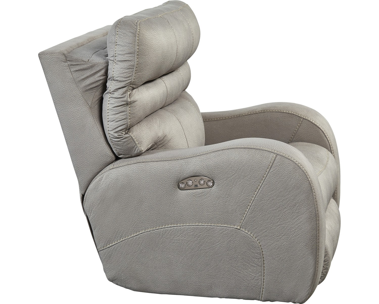 CatNapper Kelsey Power Headrest Power Lay Flat Recliner - Aluminum