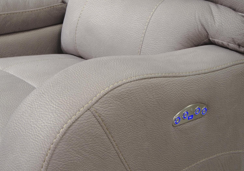 CatNapper Kelsey Power Headrest Power Lay Flat Reclining Sofa - Aluminum