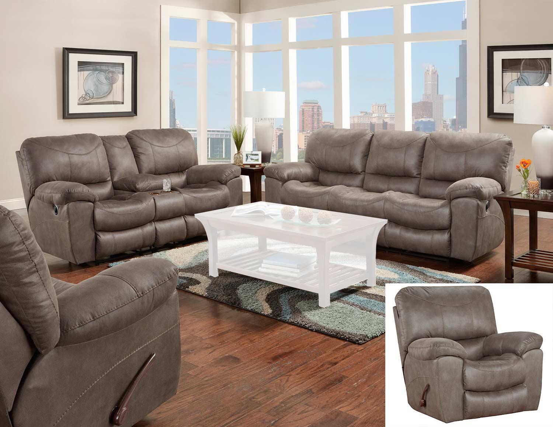 CatNapper Trent Reclining Sofa Set - Charcoal