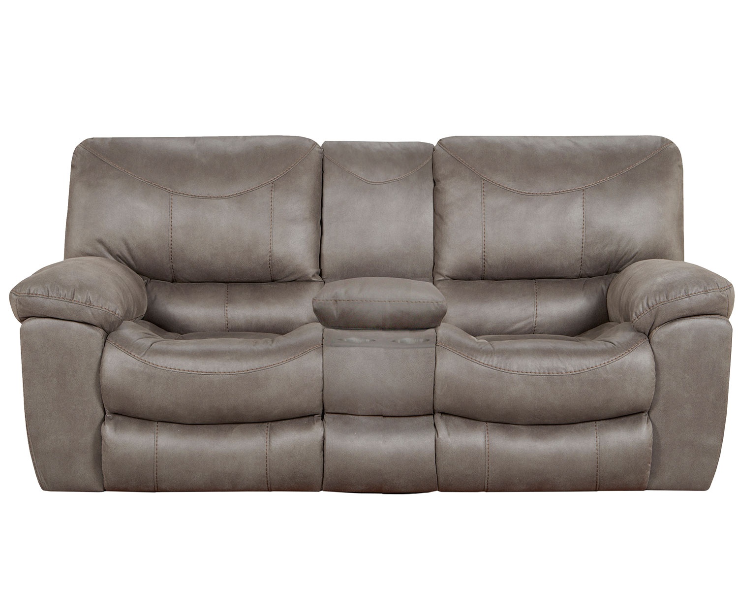 CatNapper Trent Reclining Console Loveseat - Charcoal