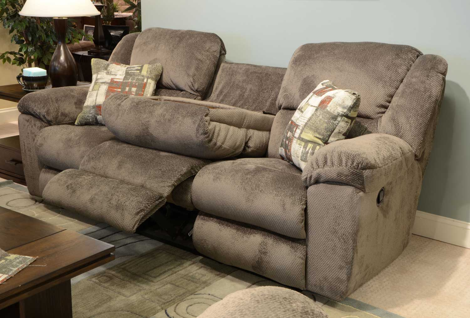 Catnapper Transformer Ultimate Sofa With 3 Recliners And 1 Drop Down Table Seal Cn 19445 Seal