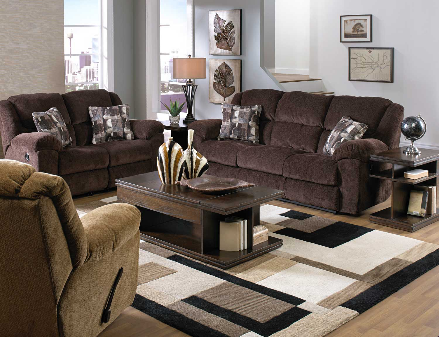 Catnapper Transformer Ultimate Sofa Set With 3 Recliners And 1 Drop Down Table Chocolate Cn 19445 Sofa Set Chocolate At Homelement Com
