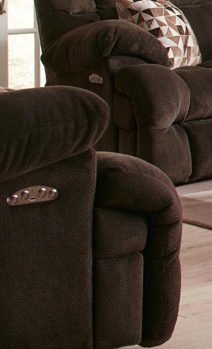 CatNapper Brice Power Lay Flat Recliner with Power Headrest - Chocolate