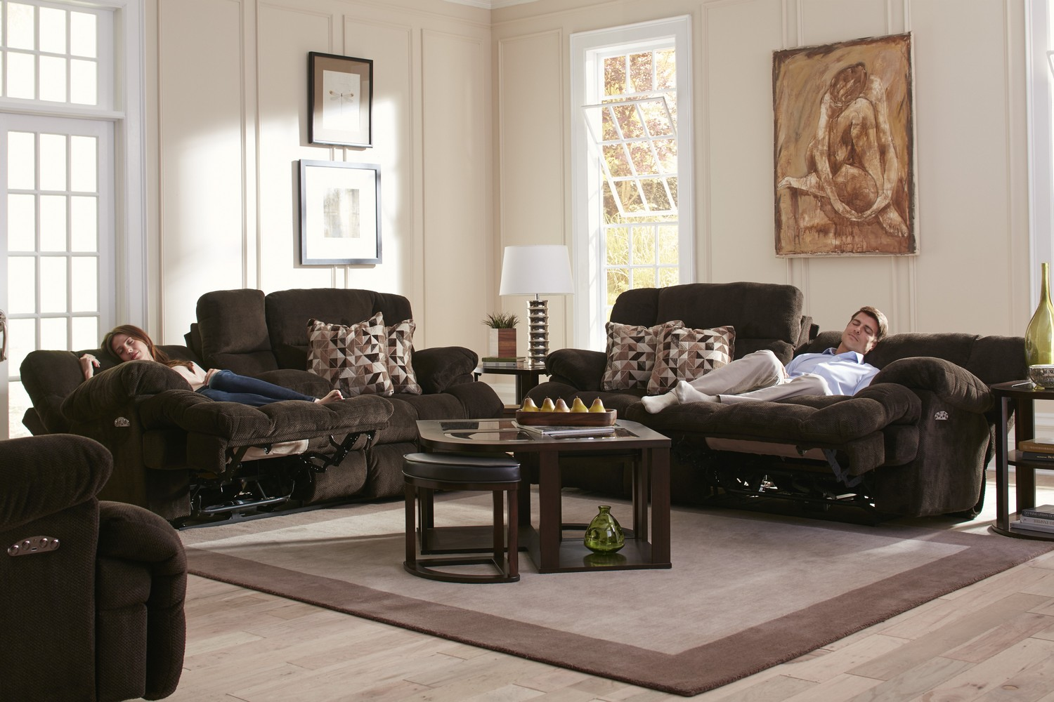 CatNapper Brice Power Reclining Sofa Set   Chocolate