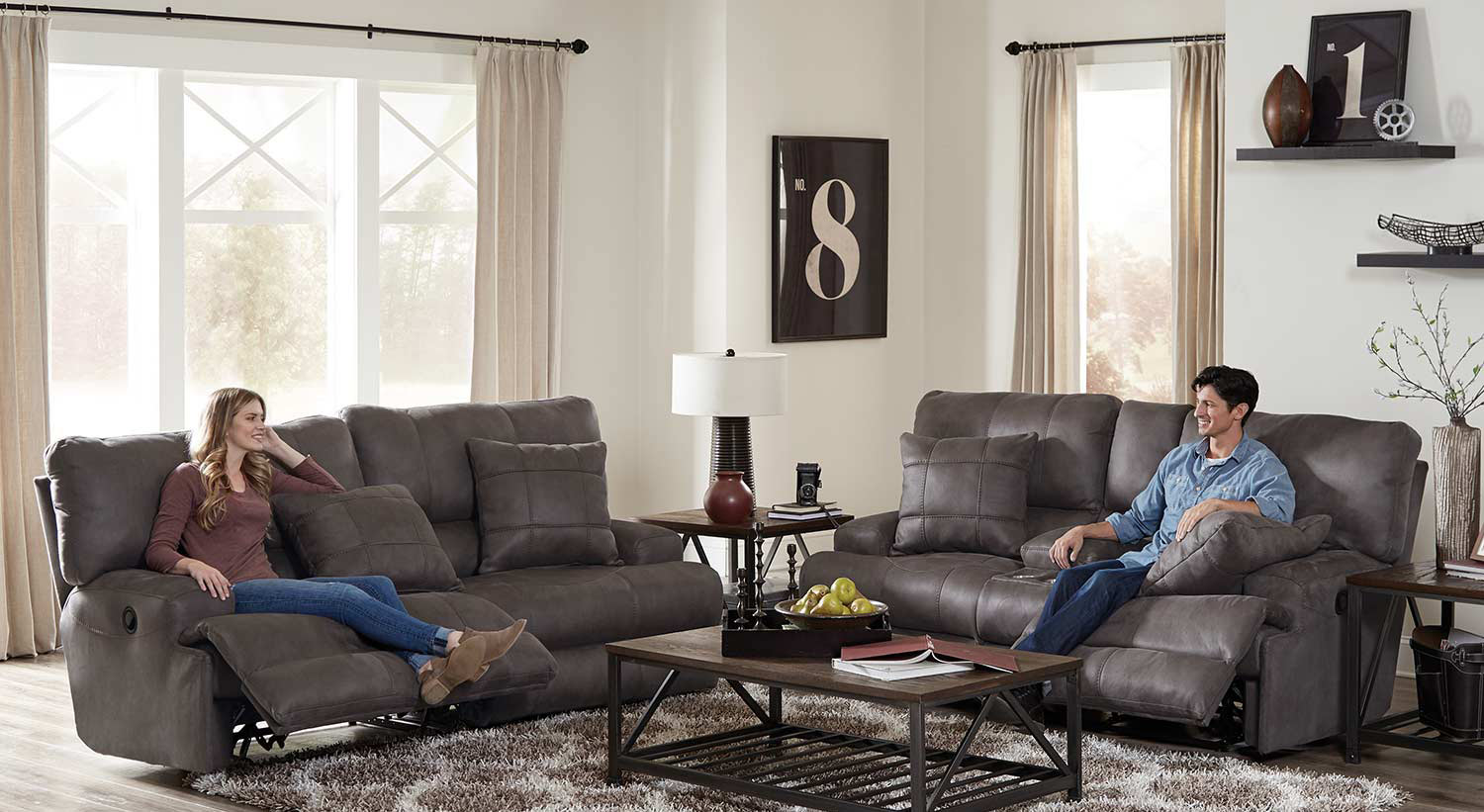 CatNapper Monaco Reclining Sofa Set - Charcoal