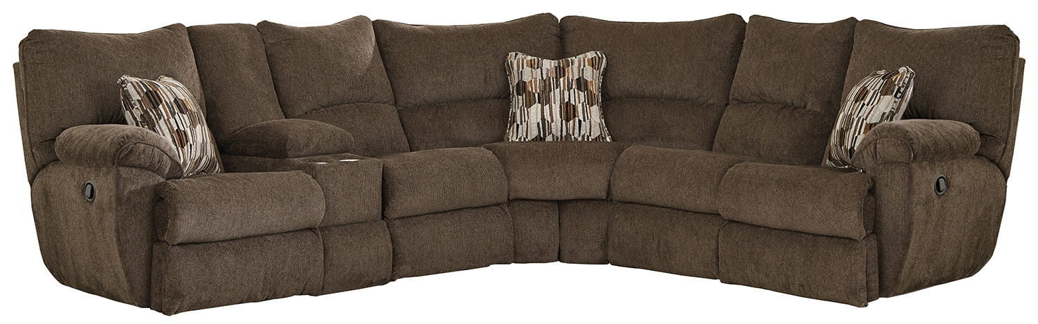 CatNapper Elliot Reclining Sectional Sofa - Chocolate