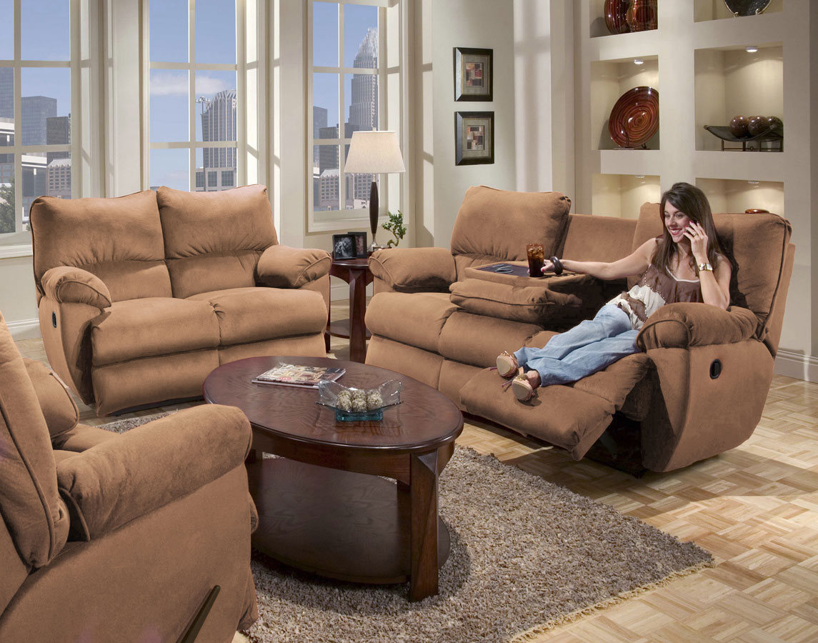 Catnapper Legend Dual Reclining Sofa With Table And