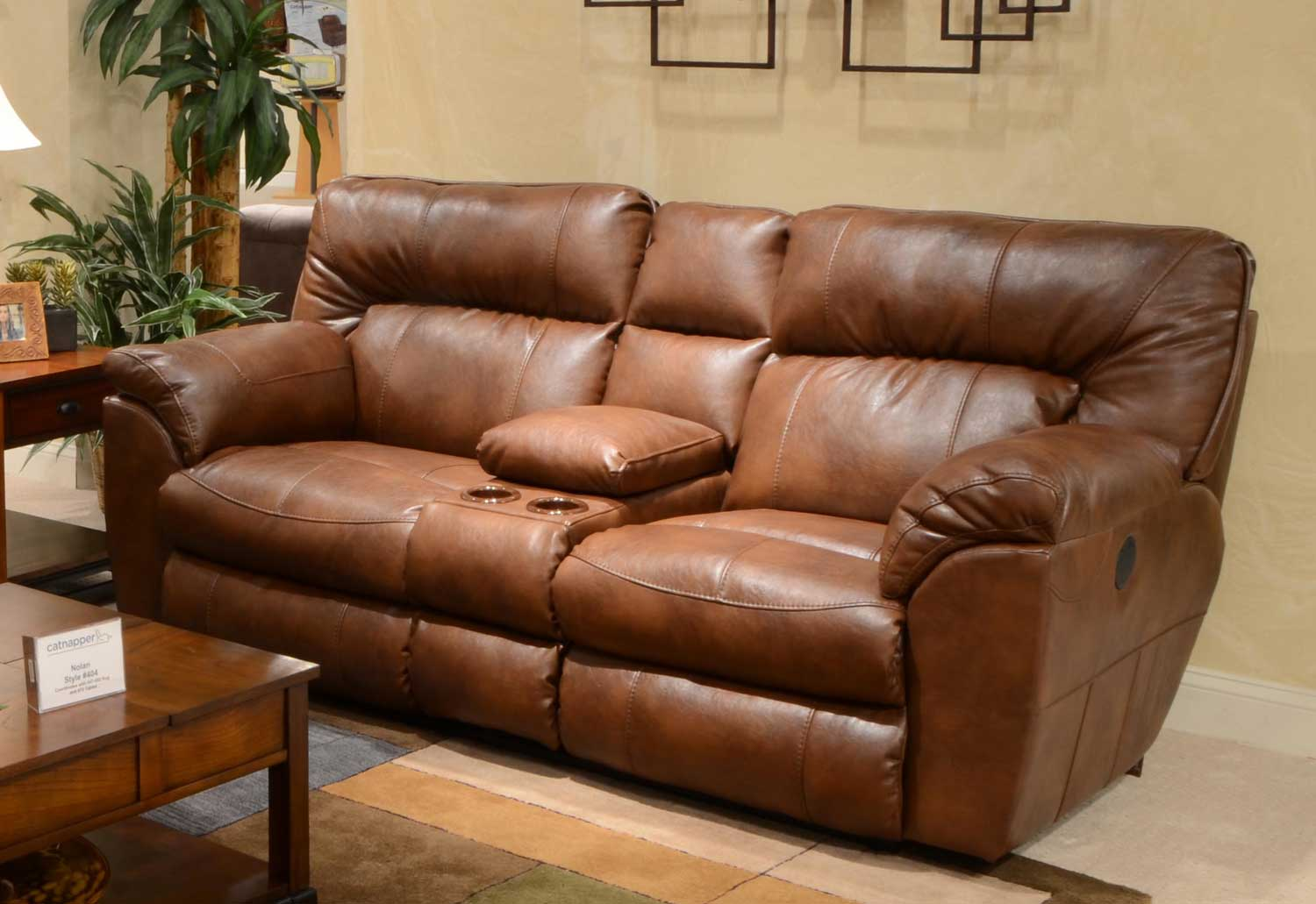 CatNapper Nolan Leather Extra Wide Reclining Console Loveseat with Storage and Cupholders - Chestnut