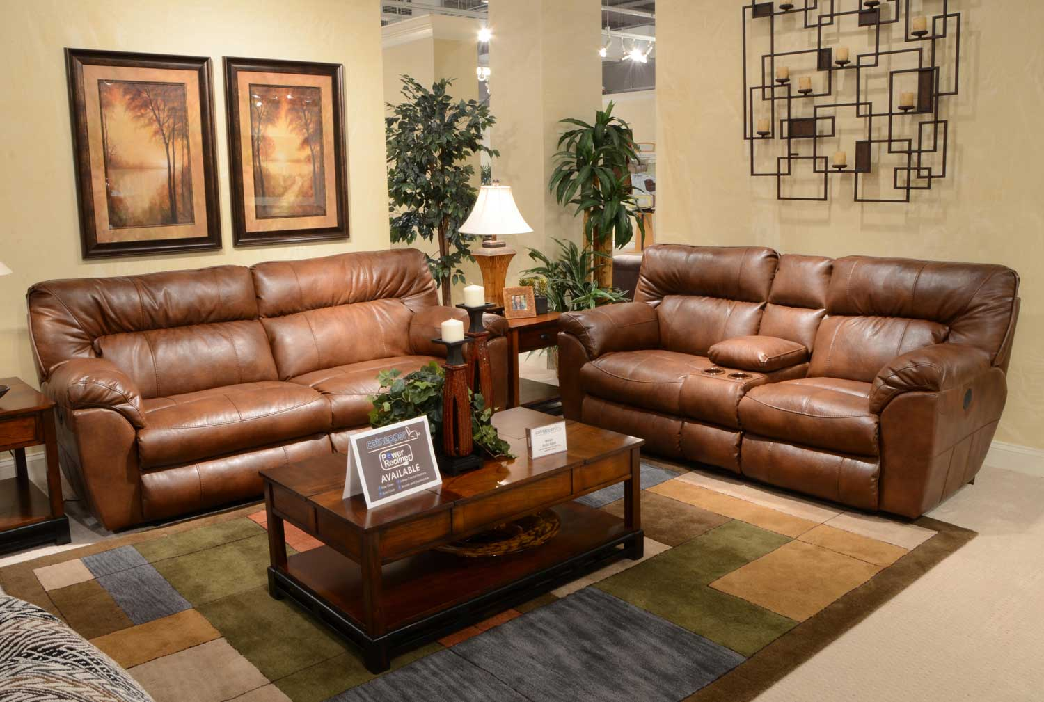 Catnapper Nolan Leather Extra Wide Reclining Sofa Set Chestnut  ~ Leather Reclining Sofa Set