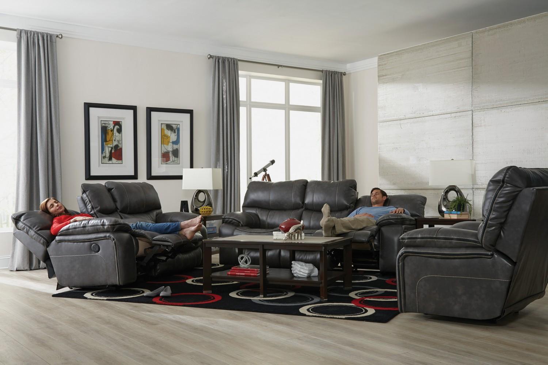 CatNapper Camden Power Lay Flat Reclining Sofa Set - Steel