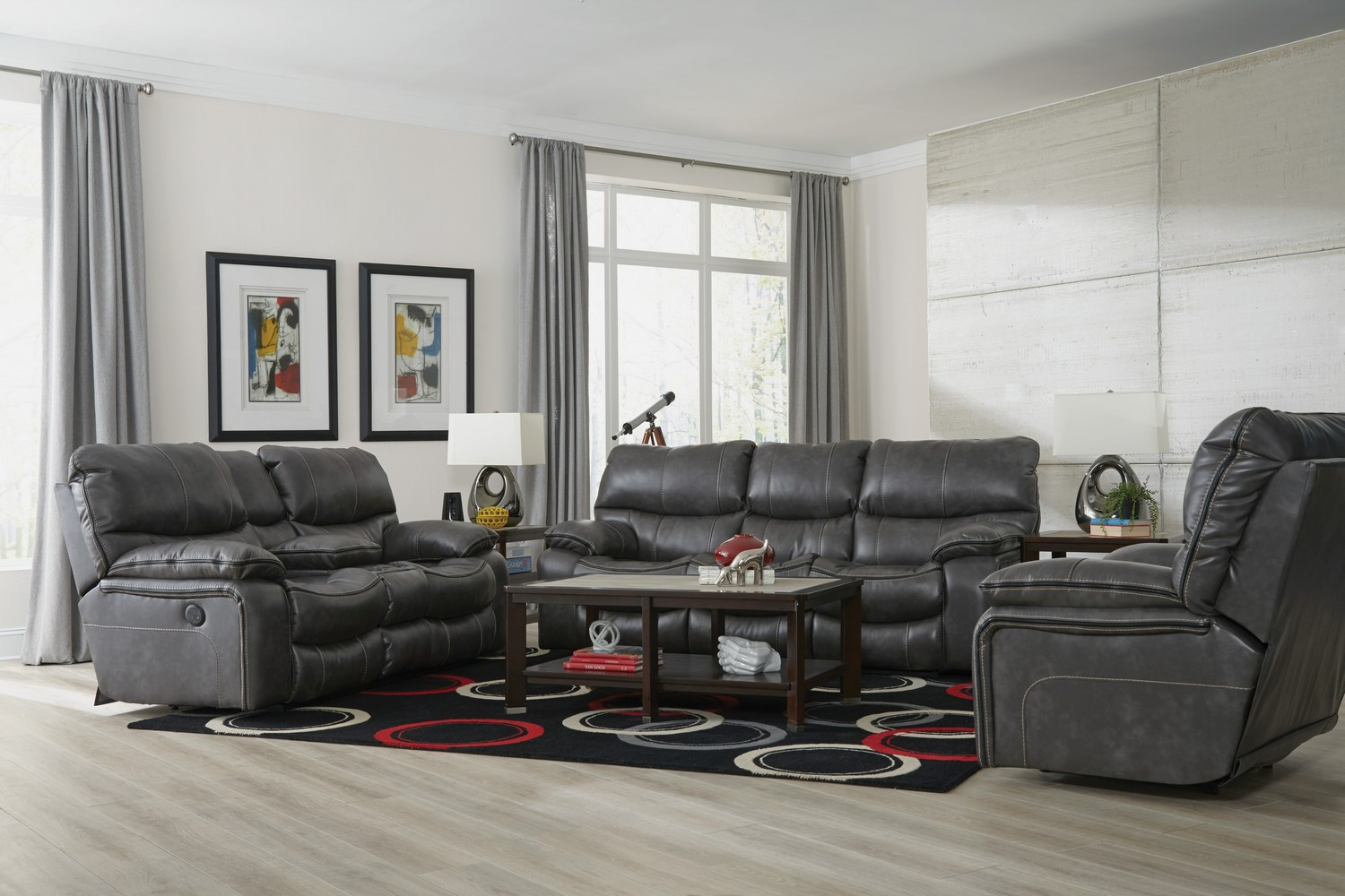 Catnapper Camden Power Lay Flat Reclining Sofa Set Steel
