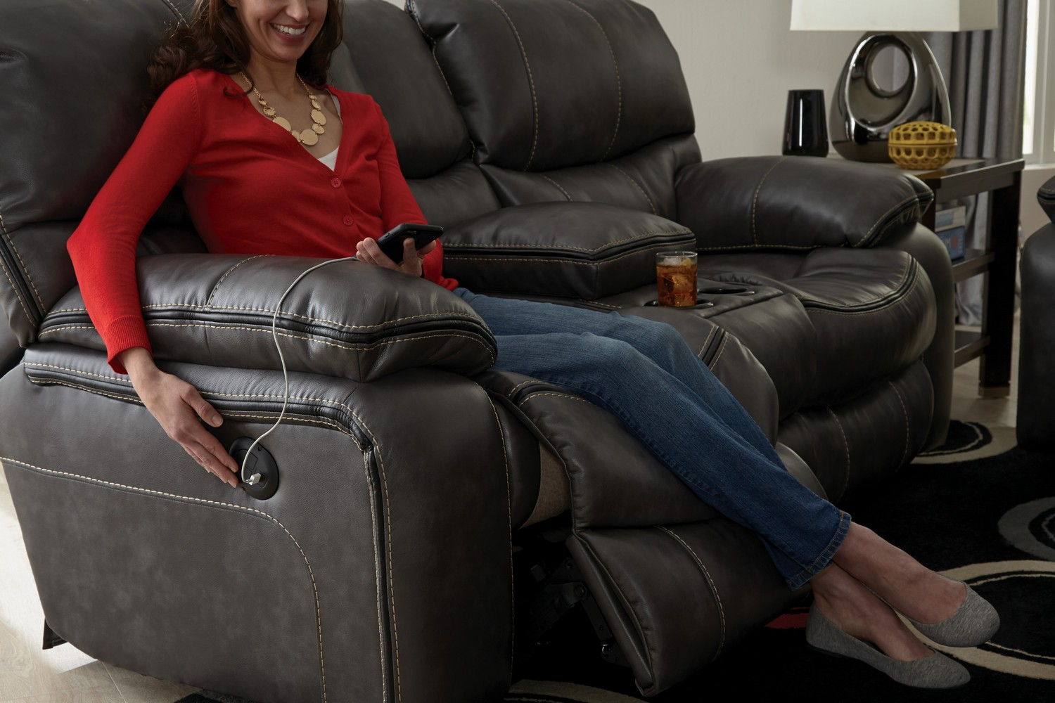 CatNapper Camden Power Lay Flat Reclining Console Loveseat with Storage and Cupholders - Steel