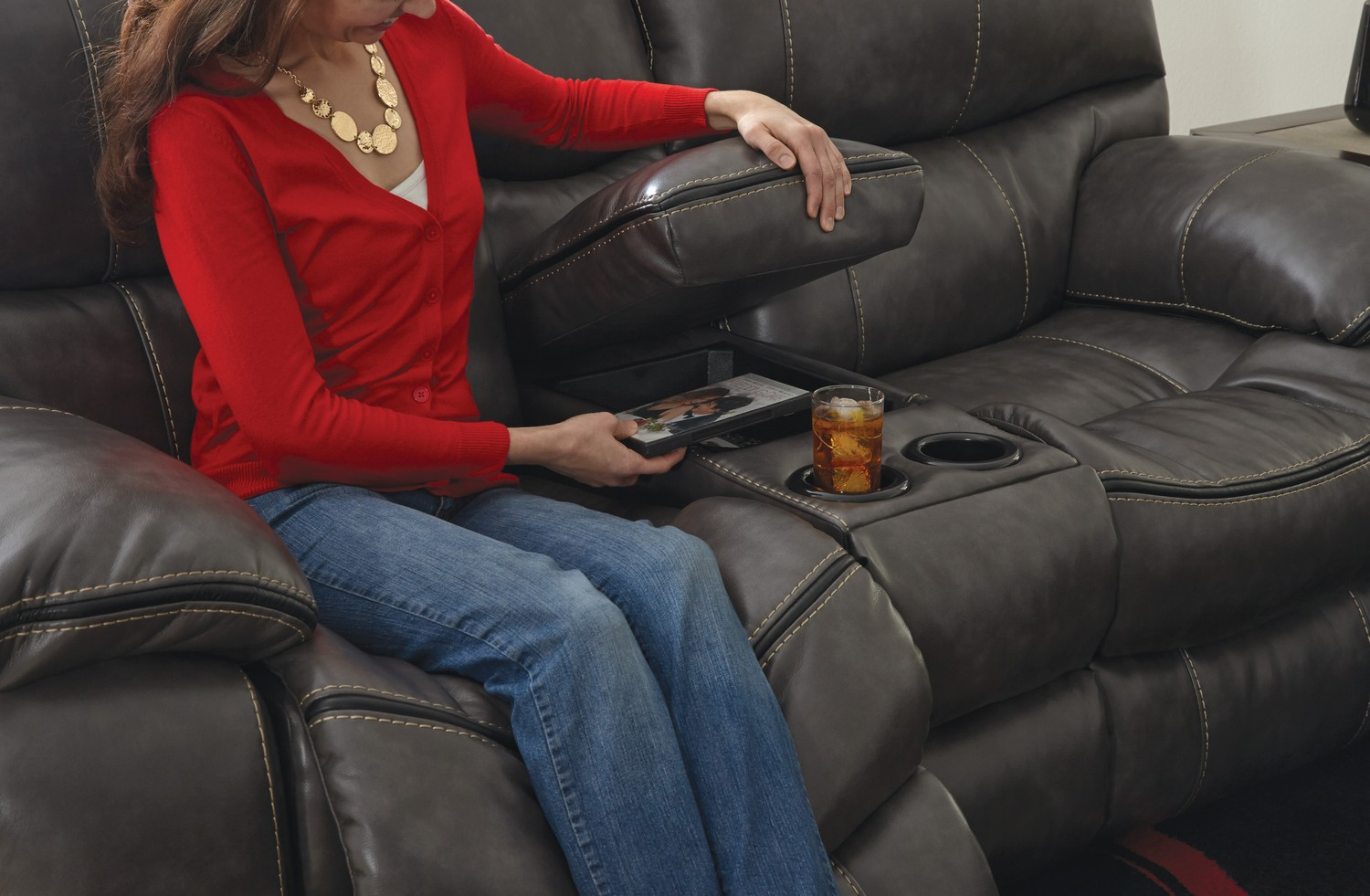 CatNapper Camden Reclining Gliding Console Loveseat with Storage and Cupholders - Steel