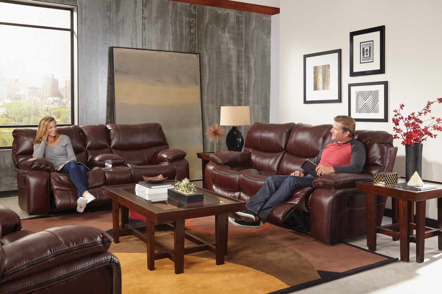 Catnapper Camden Lay Flat Reclining Sofa Set Walnut Cn