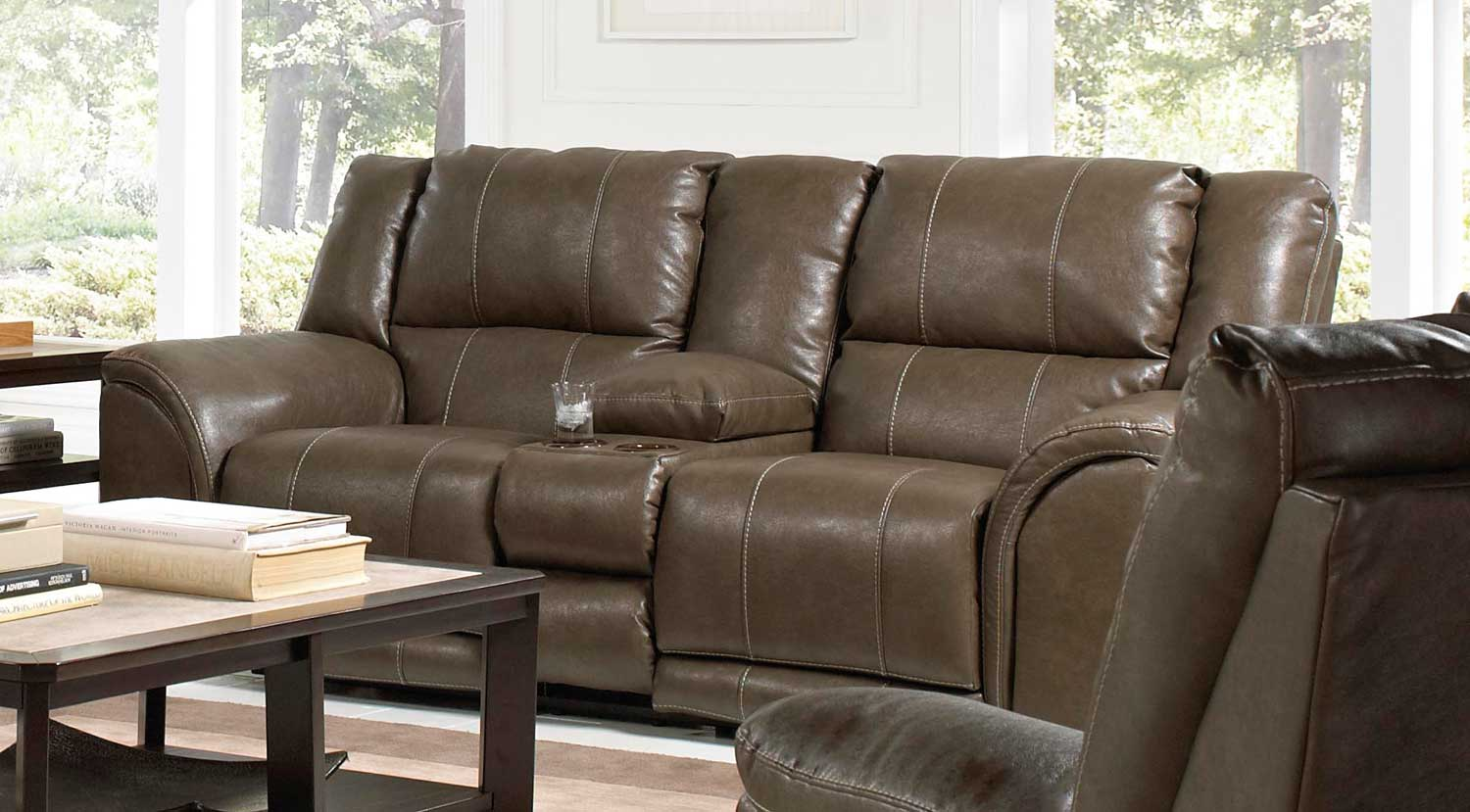 CatNapper Carmine Power Lay Flat Console Loveseat With Storage, Cupholders,  And Dual USB Ports