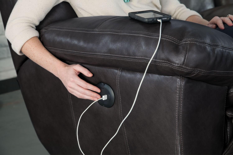 CatNapper Aria Top Grain Italian Leather Lay Flat Reclining Sofa Set - Chocolate