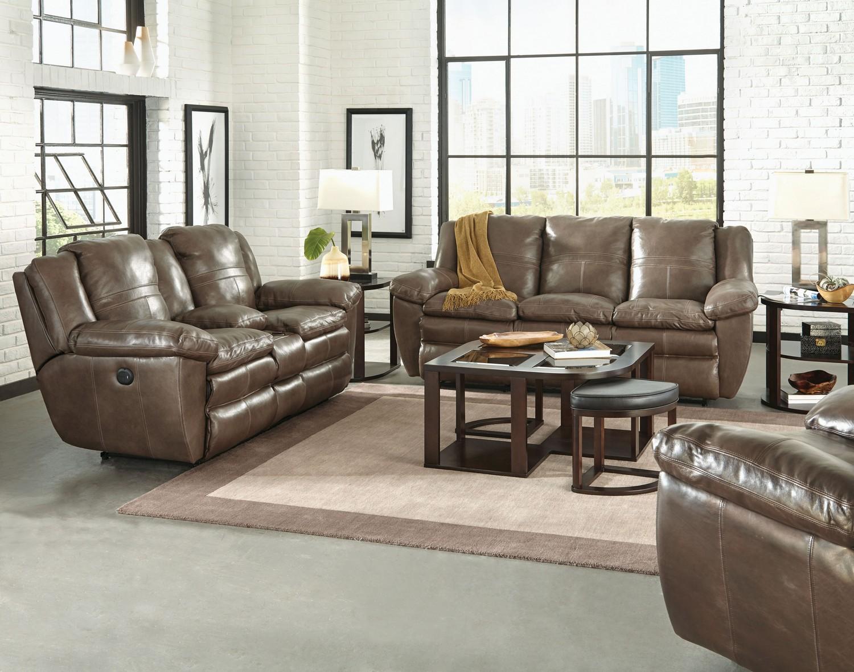 CatNapper Aria Top Grain Italian Leather Lay Flat Power Reclining Sofa Set - Smoke