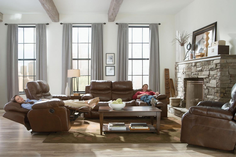 catnapper patton top grain italian leather lay flat reclining sofa set chestnut