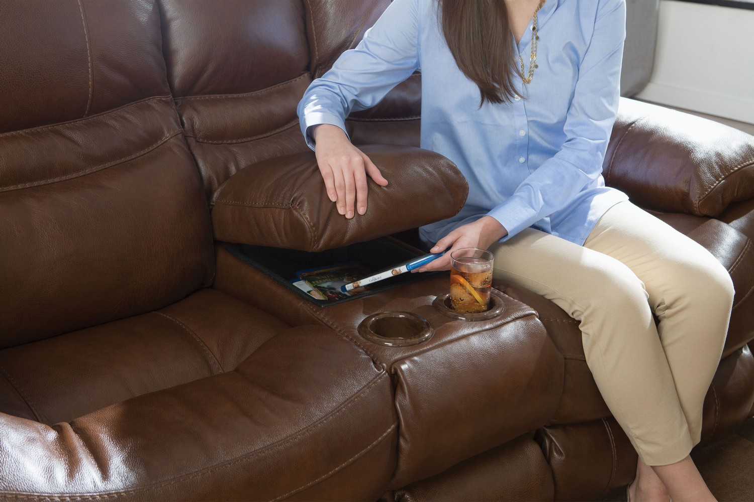CatNapper Patton Top Grain Italian Leather Lay Flat Power Reclining Console Loveseat - Chestnut