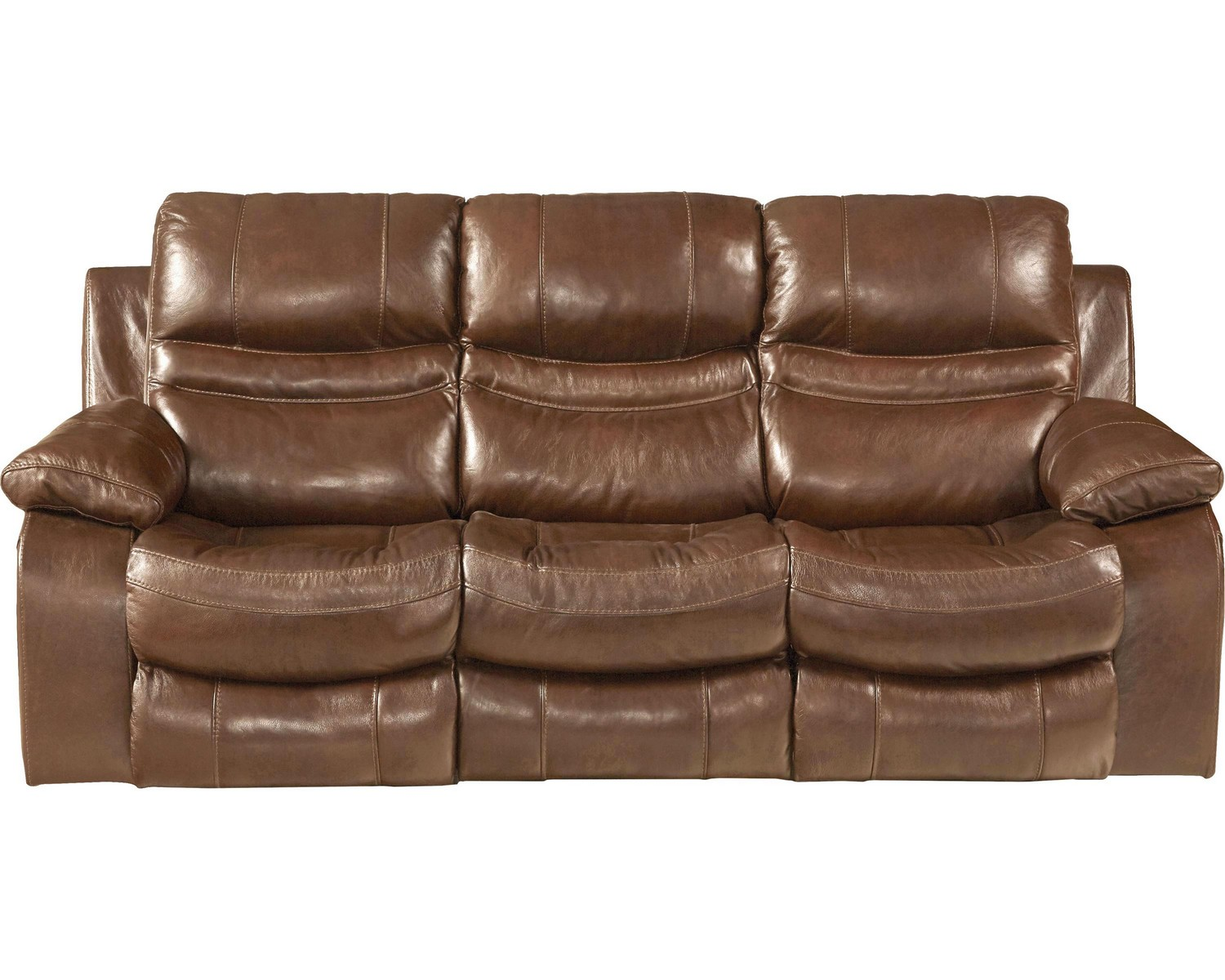 CatNapper Patton Top Grain Italian Leather Lay Flat Power Reclining Sofa - Chestnut