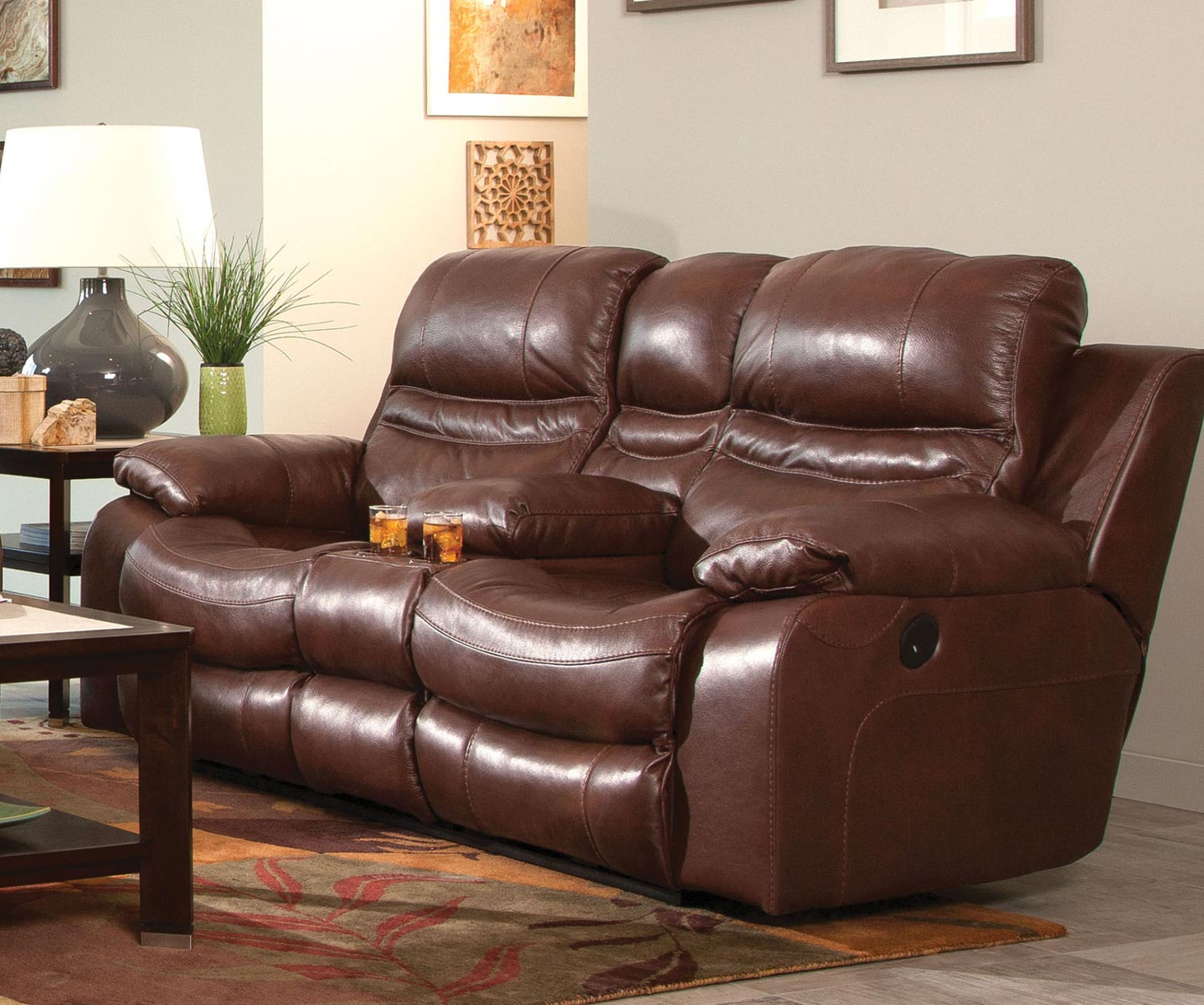 CatNapper Patton Top Grain Italian Leather Lay Flat Power Reclining Console Loveseat - Walnut : leather loveseat power recliner - islam-shia.org