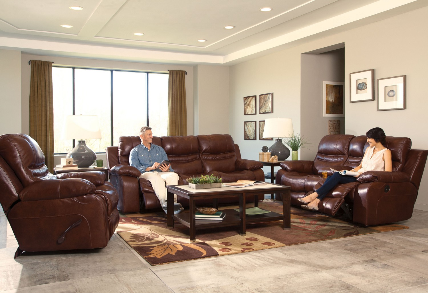 catnapper patton top grain italian leather lay flat reclining sofa set walnut