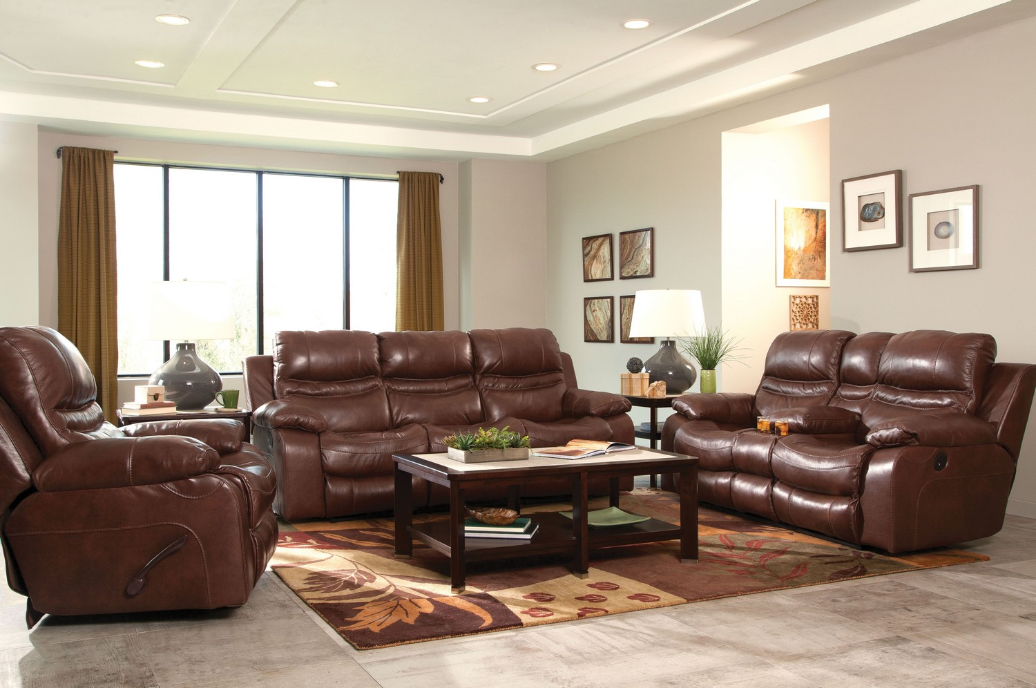 Ordinaire CatNapper Patton Top Grain Italian Leather Lay Flat Power Reclining Sofa  Set   Walnut