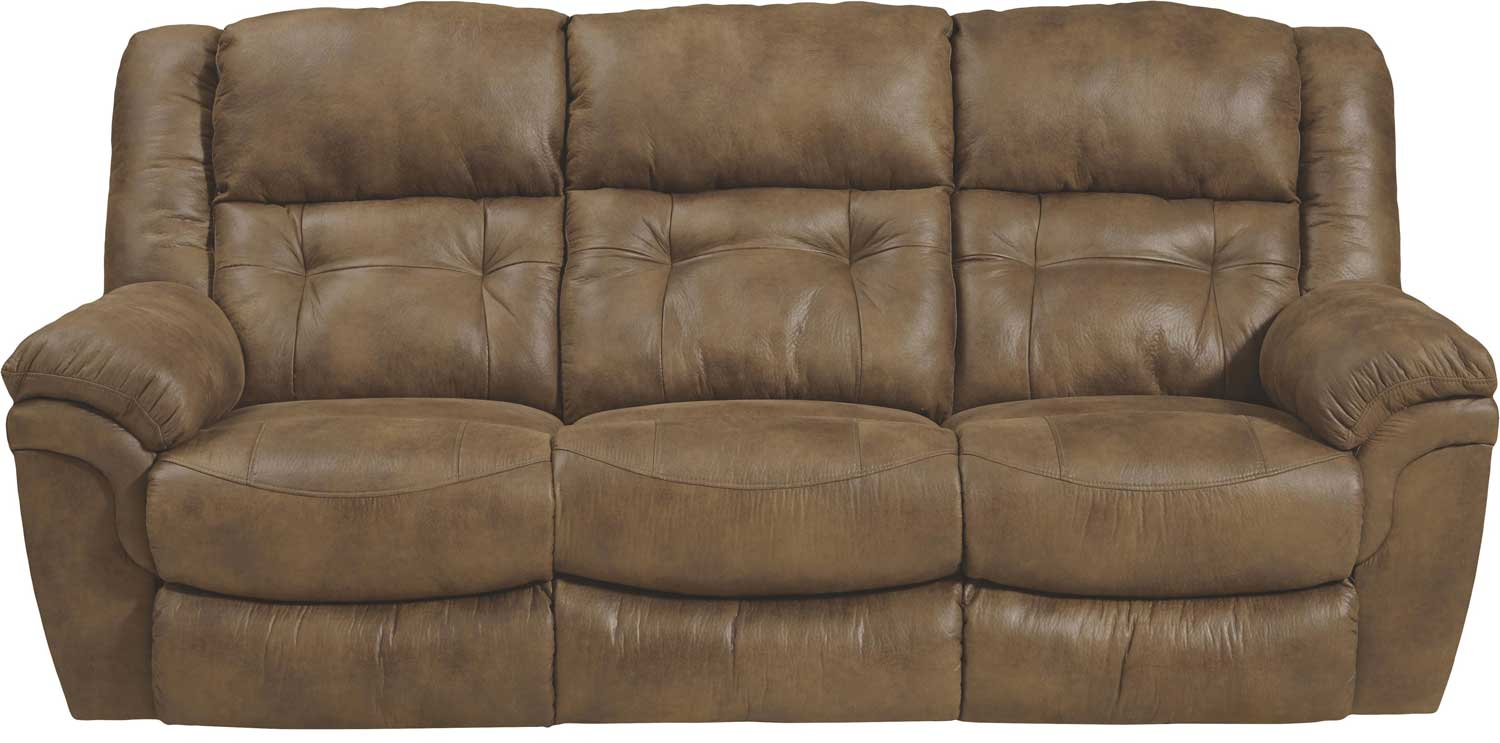 Catnapper Joyner Power Lay Flat Reclining Sofa With Drop Down Table Almond Cn 64255 Almond At