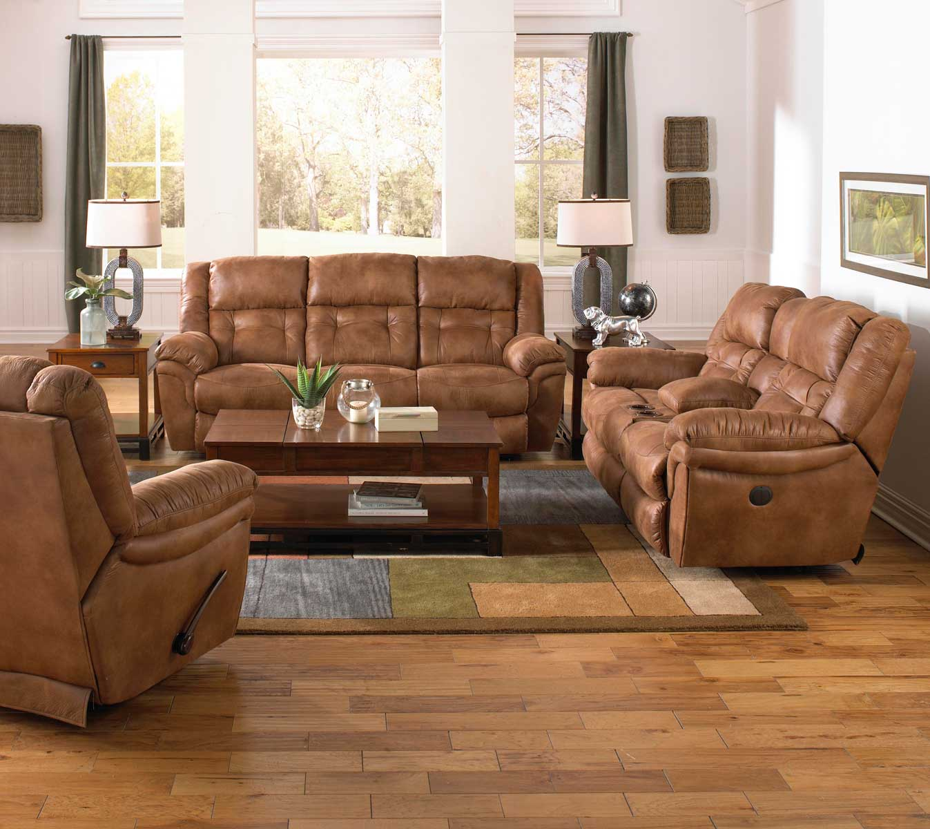 CatNapper Joyner Power Lay Flat Reclining Sofa Set With
