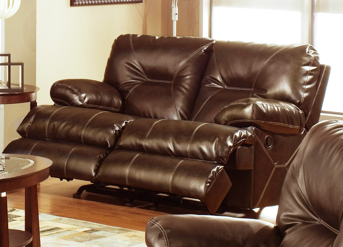 Catnapper Cortez Bonded Leather Dual Rocking Reclining Loveseat Brown 4292 2