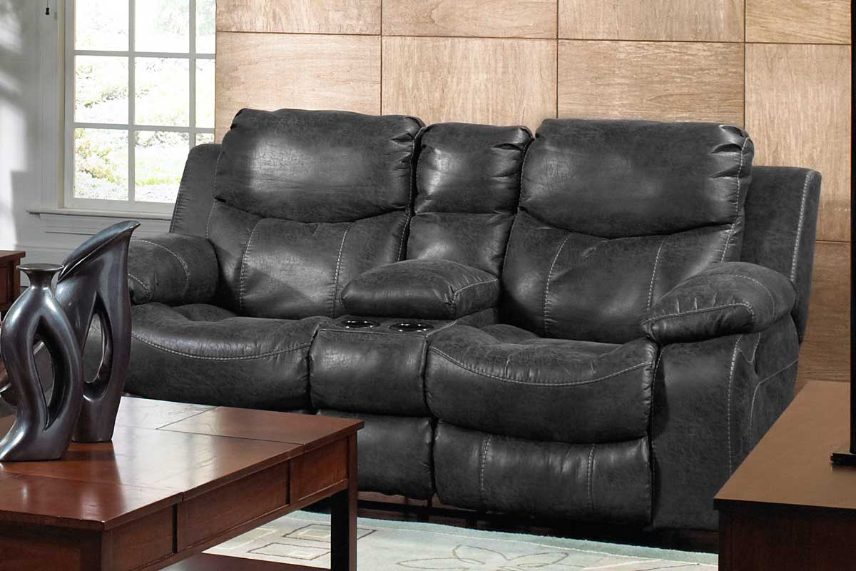 CatNapper Catalina Reclining Console Loveseat with Storage and Cupholders - Steel