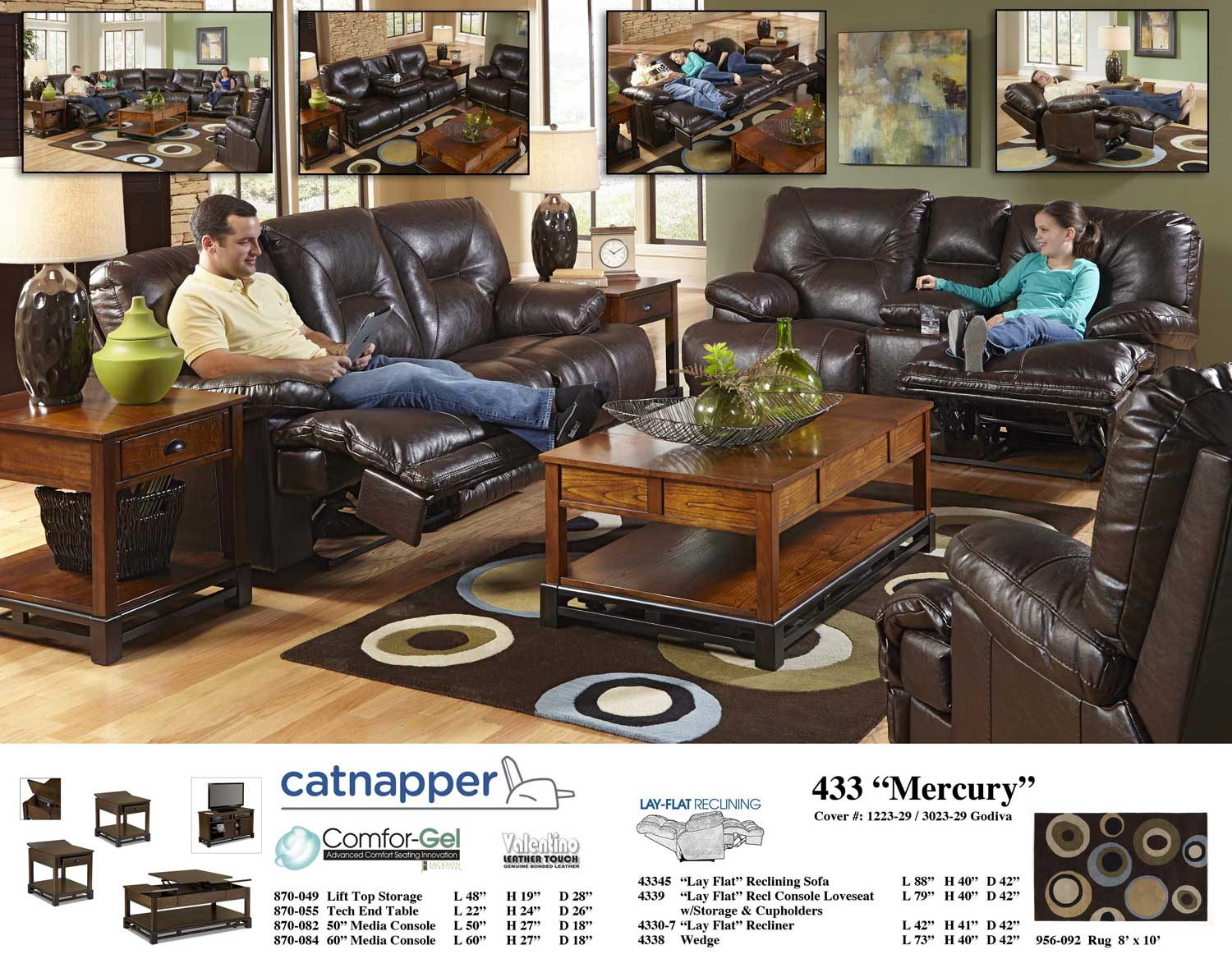 Catnapper Mercury Lay Flat Reclining Sofa With 3x Recliner Drop