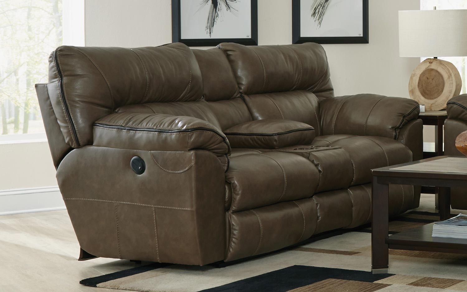 catnapper sectional pwr w lay by reclining power chestnut loveseat console nichols sec flat