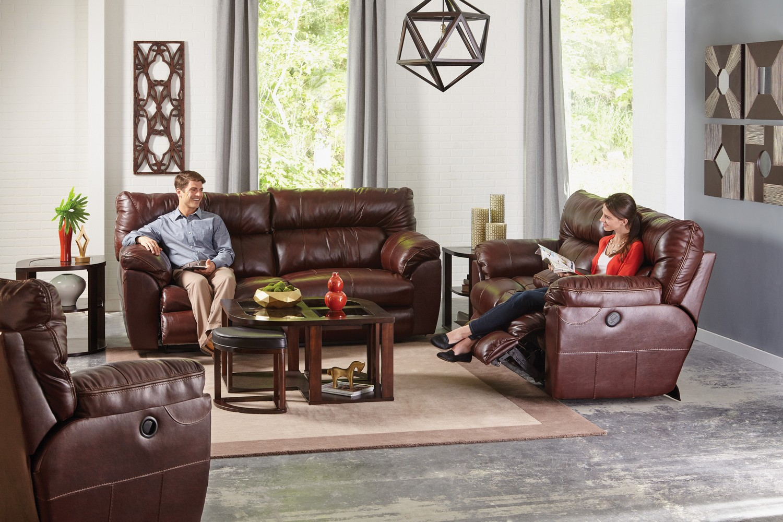CatNapper Milan Power Lay Flat Reclining Sofa Set - Walnut