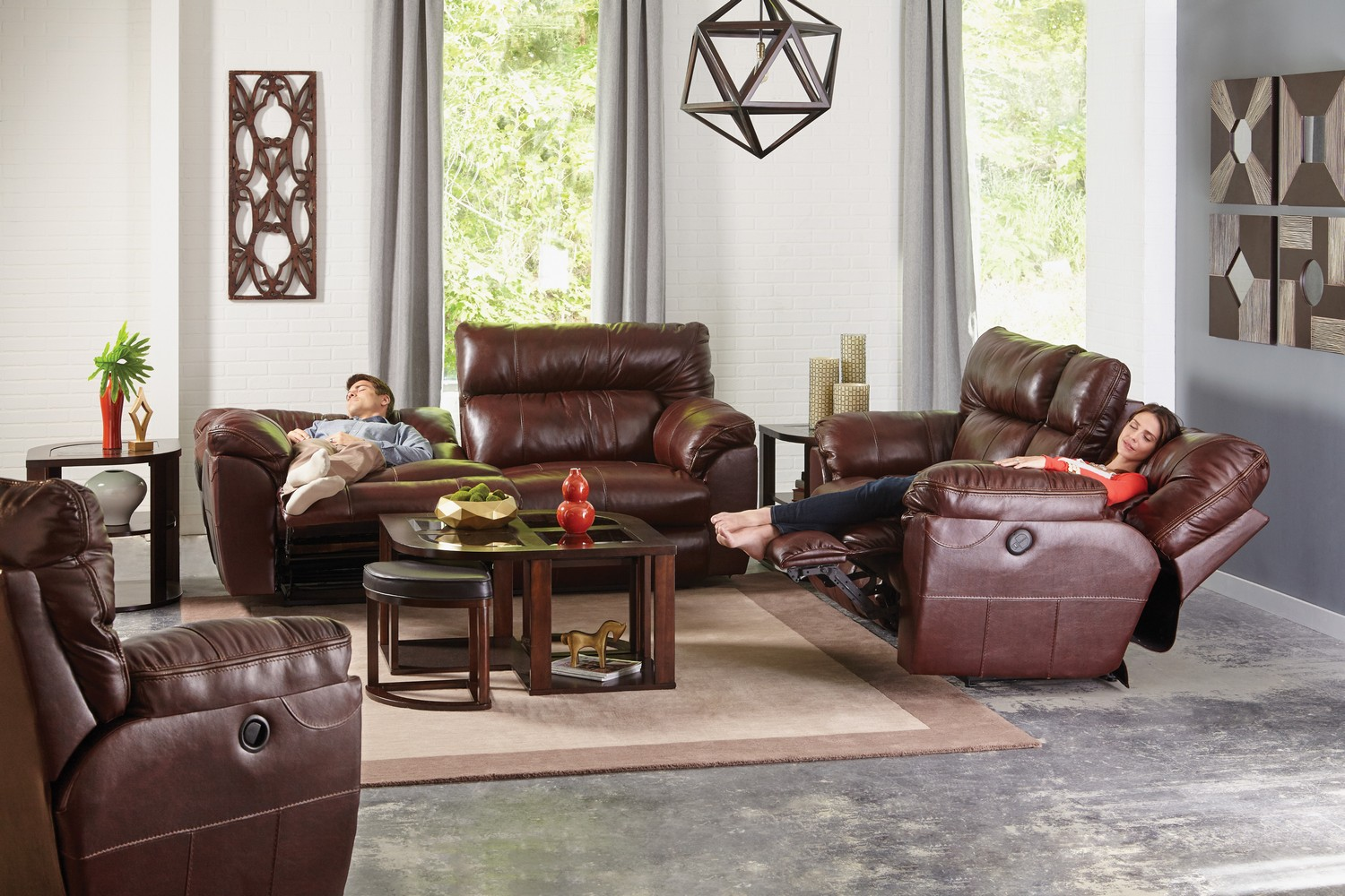 CatNapper Milan Power Lay Flat Reclining Sofa Set - Walnut