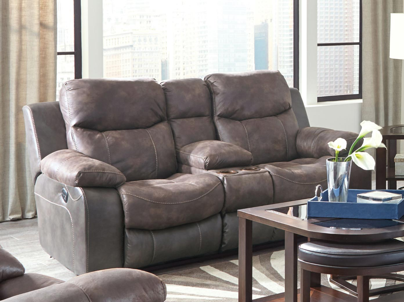 CatNapper Henderson Power Reclining Console Loveseat With Storage and Cupholders - Dusk
