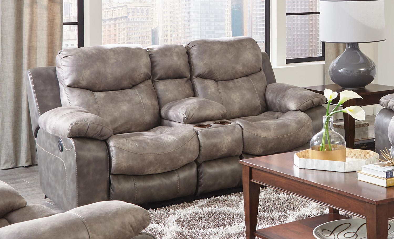 CatNapper Henderson Power Reclining Console Loveseat With Storage and Cupholders - Steel