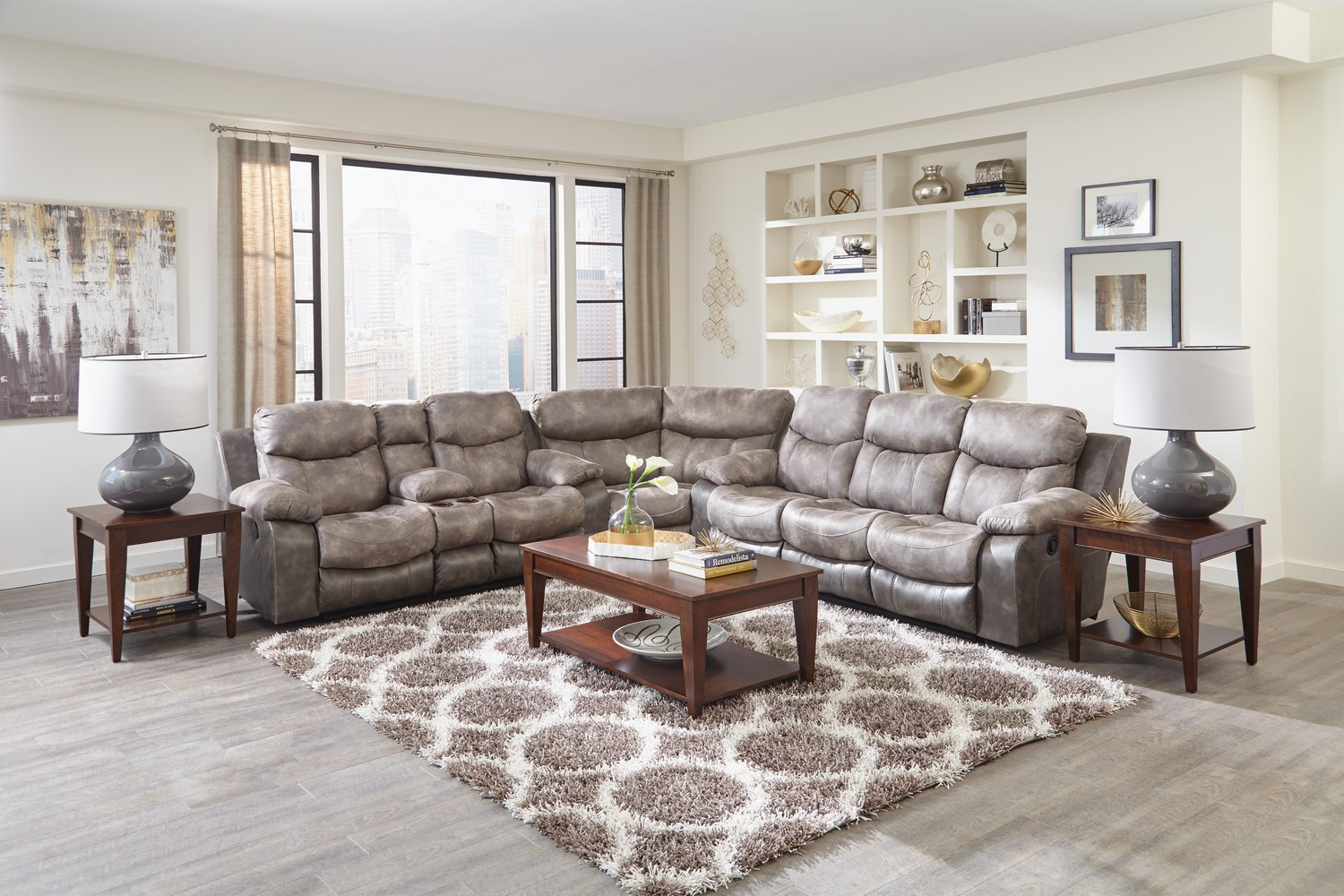 CatNapper Henderson Reclining Sectional Sofa Set - Steel